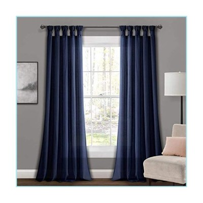 """新品Lush Decor Navy Burlap Knotted Tab-Top Window Curtain Panel Pair (84"""" x 45"""")"""