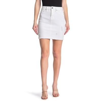 グッドアメリカン レディース スカート ボトムス The Distressed Denim Mini Skirt WHITE005
