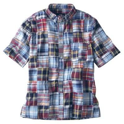 パッチワーク マドラスチェックシャツ M メンズ アウター/トップス L