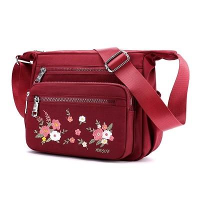 花柄 刺繍 ショルダーバッグ レッド 赤色 3WAY トートバッグ ナイロン 手持ち 肩かけ 斜めがけ 軽量 レディース