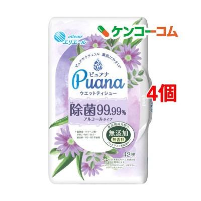 エリエール Puana(ピュアナ) ウエットティシュー 除菌99.99% アルコール 本体 ( 42枚入*4個セット )/ エリエール