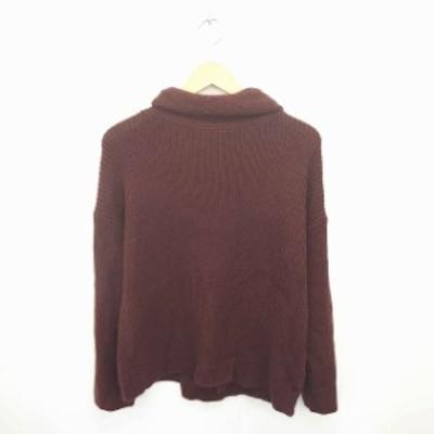 【中古】アーバンリサーチ URBAN RESEARCH ニット セーター タートルネック ウール混 長袖 FREE 赤紫 ワインレッド