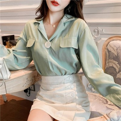 全2色 シャツ ブラウス ボリューム袖 体型カバー 着痩せ 大きいサイズ 無地 韓国風 シンプル