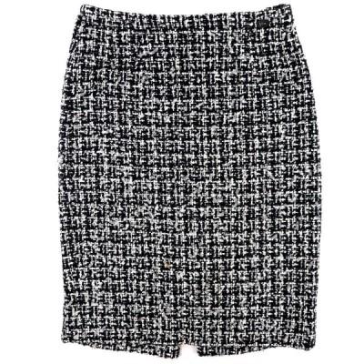 シャネル 09P チェック ツイードタイトスカート レディース 黒系 36 ココマーク バックジップ CHANEL【C2-16293】