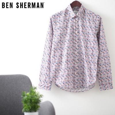 ベンシャーマン メンズ 長袖シャツ 花柄シャツ フローラル Ben Sherman ブルー スリムフィット