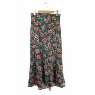 【中古】リリーブラウン Lily Brown 18AW スカート フレア ロング 花柄 ボタン装飾 1 緑 黒 マルチカラー レディース