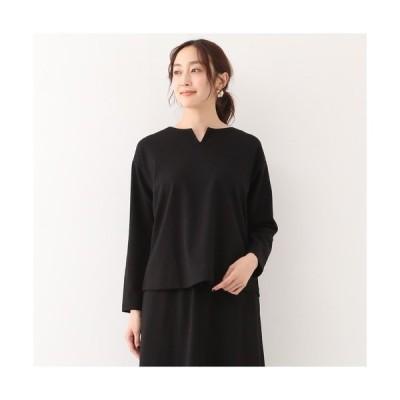 tシャツ Tシャツ 【noir】ミラノリブキーネック長袖プルオーバー