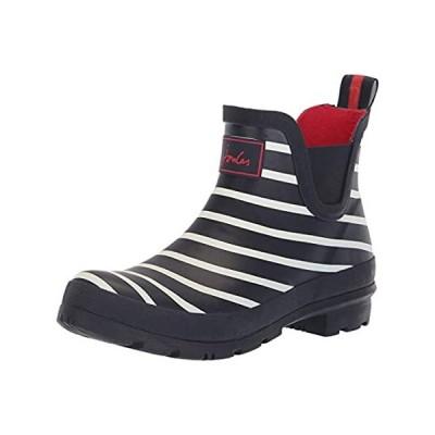 Joules Women's Wellibob Rain Boot, French Navy Stripe, 5 Medium US
