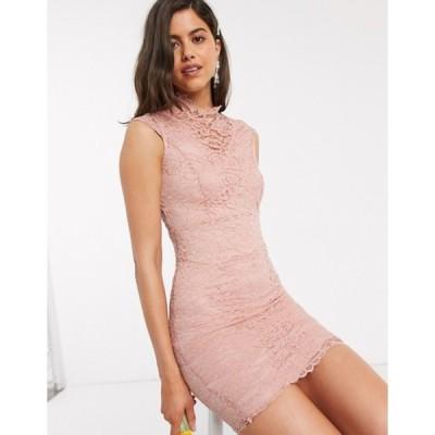 ティエフエヌシー レディース ワンピース トップス TFNC Bridesmaid midi lace dress in light pink