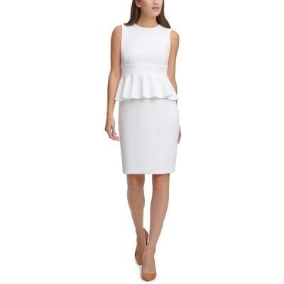 カルバンクライン ワンピース トップス レディース Peplum Sheath Dress Cream