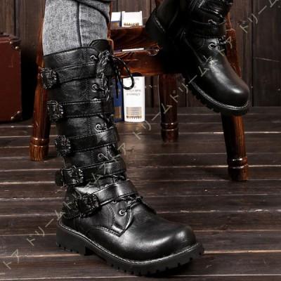 ロングブーツ メンズ 黒 長靴 編み上げブーツ エンジニアブーツ 秋冬 防寒 防水 滑り止め ロングブーツ 大きいサイズ 滑り止め 黒 レースアップ