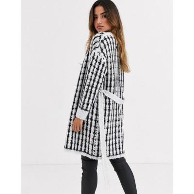 エイソス レディース カーディガン アウター ASOS DESIGN checked tinsel knit wrap cardigan dress MONO