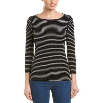 スリードッツ シャツ トップス レディース Three Dots Tahoe Stripe British T-Shirt black multicolor