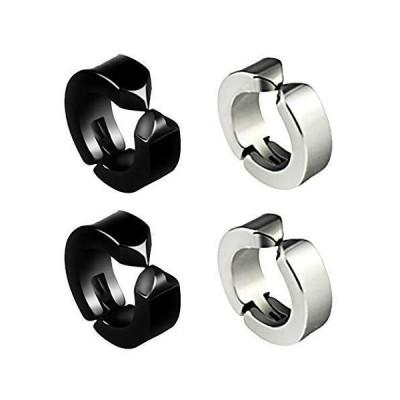 CLAN フェイクピアス ブラック&シルバー無地の2色セット イヤリング サージカルステンレス ノンホールピアス