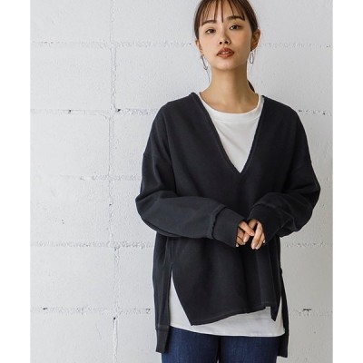 tシャツ Tシャツ インナー付き深Vネックカットソープルオーバー