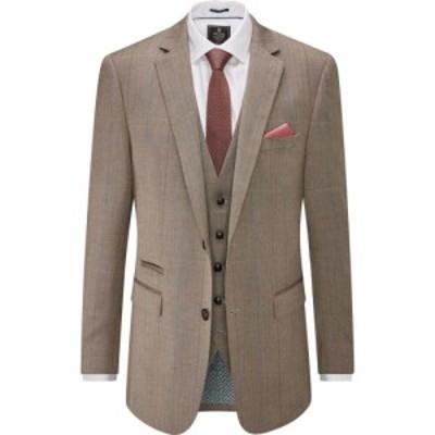 スコープス Skopes メンズ スーツ・ジャケット アウター Dunstall Wool Blend Check Suit Jacket Brown