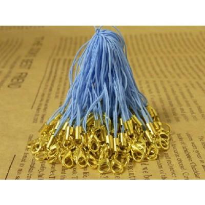 ストラップパーツ カニカン付き 丸カン ゴールド金具 パステルブルー 90mm 約50個 50本 紐 ひも キーホルダー 約9cm アクセサリーパーツ