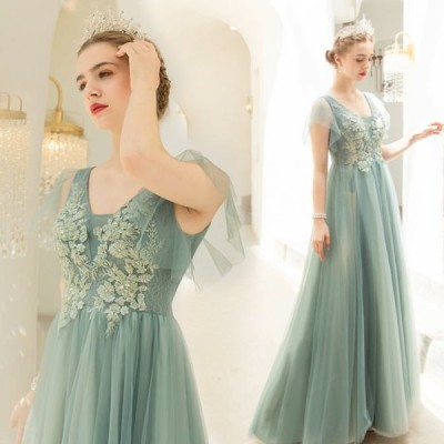 【ANGEL】肌透けチュールレースビーズスパンコール半袖付き背中編上げAラインロングドレス【送料無料】高品質 グリーン 緑 ロングドレス