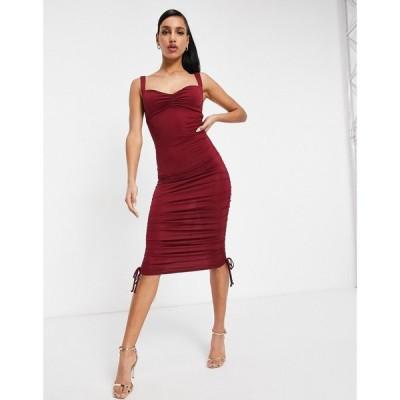 エイソス ASOS DESIGN レディース ボディコンドレス ミドル丈 ワンピース・ドレス Ruched Sweetheart Bodycon Midi Dress In Red レッド