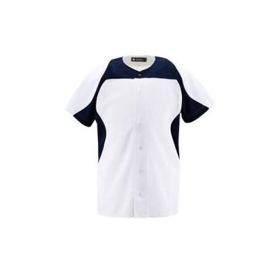 DESCENTE(デサント) ユニフォームシャツ カラーコンビネーションシャツ(フルオープン) DB1014 SWNV(Sホワイト×ネイビー) S