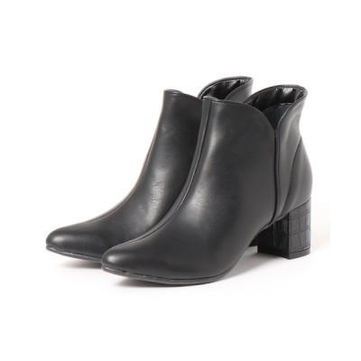 Agosto / 【日本製】6㎝チャンキーヒールポインテッドトゥショートブーツ WOMEN シューズ > ブーツ