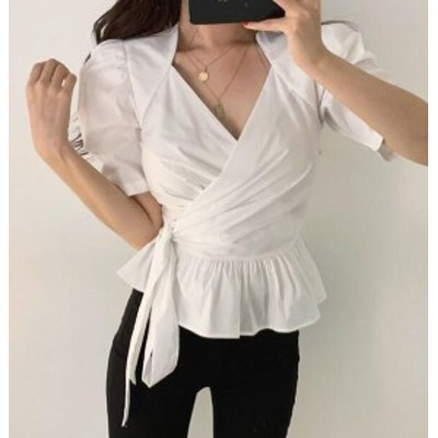 韓国 ファッション レディース トップス ブラウス カシュクール Vネック ぺプラム リボン スリム オルチャン 半袖 きれいめ 上品 大人可