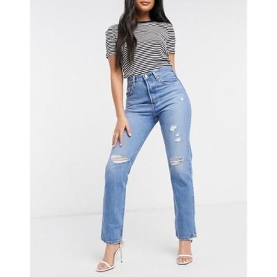 リーバイス レディース デニムパンツ ボトムス Levi's 501 crop jeans with ripped knees in light wash