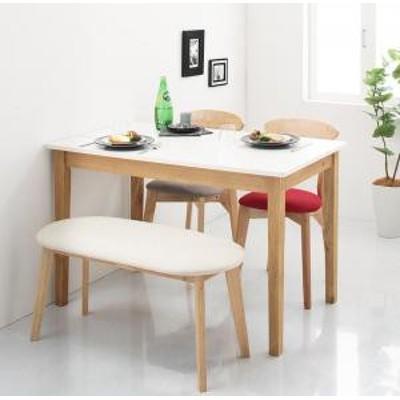 ダイニング テーブル&ベンチ・チェア  モダンデザイン ダイニング ベンチ ホワイト×ナチュラル 2P