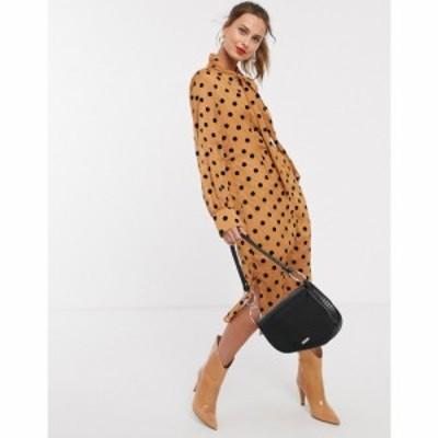 ユニーク21 UNIQUE21 レディース ワンピース ワンピース・ドレス front button polka dot pussybow dress