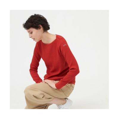 【エーグル】 吸水速乾 AIGLEロゴ 長袖Tシャツ レディース レッド S AIGLE