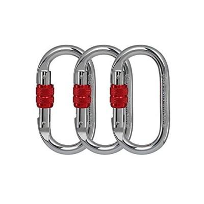 特別価格Locking Climbing Carabiners Clip Heavy Duty 3Pack (Red) CE Rated 25 kN 5600好評販売中