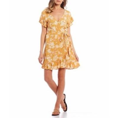 ビラボン レディース ワンピース トップス Wrap and Roll Wrap Printed Dress Bright Gold