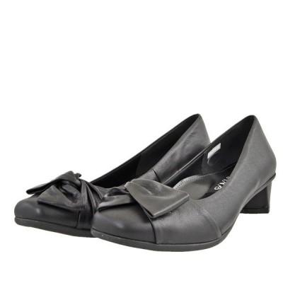 レディース 靴 パンプス ギャラリー ベルダッド 3E 日本製 リボンモチーフパンプス 送料無料 ブラック 9706BLK