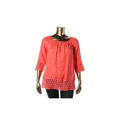 トップス&ブラウス Charter Club Charter Club 1389 レディース オレンジ Linen Crochet Lace Tunic Top Blouse Plus 1X BHFO