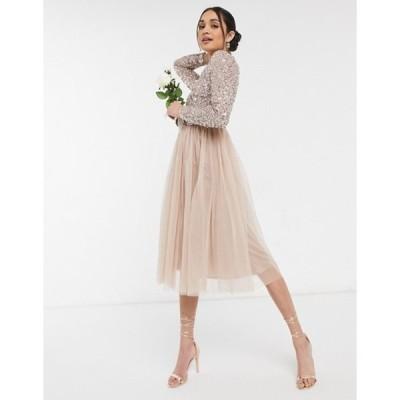 マヤ レディース ワンピース トップス Maya Bridesmaid long sleeve midi tulle dress with tonal delicate sequin in taupe blush