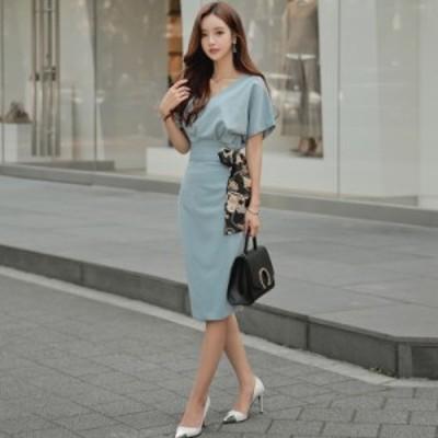 ワンピース ガーリー レディース 大人可愛い 可愛い フェミニン シンプル 半袖 ロング タイト