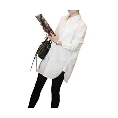 [エムエルーセ]MR08 WH L 通気性 シャツ sharts ロングシャツ ストリート モード mods 春 青 白 チェック 半袖 ストライプ