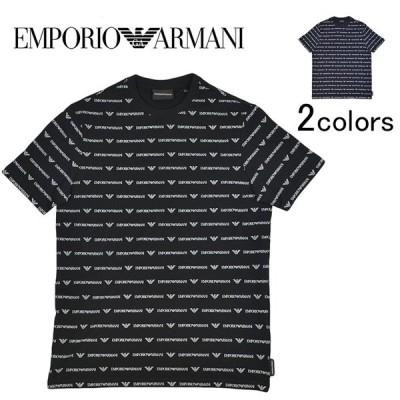 EMPORIO ARMANI エンポリオアルマーニ ブラック 黒 ネイビー 紺 Tシャツ メンズ クルーネック 半袖シャツ 柄シャツ ロゴTシャツ 無料ラッピング ギフト
