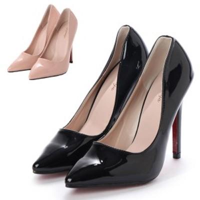 ピンヒール パンプス ポインテッドトゥ エナメル ハイヒール 12cmヒール 靴 シューズ レディース ブラック ベージュ SALE セール