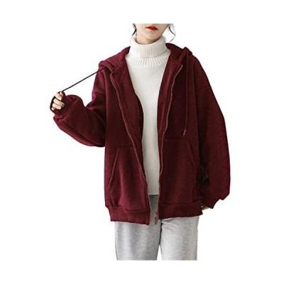 [アイカ] 暖か 裏起毛 ゆったり 長袖 フード付き ジップアップ スウェットパーカー トレーナーパーカー (ワインレッド Free Size)