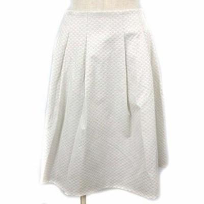 【中古】エムプルミエ M-Premier TUCK JACQUARD SKIRT スカート フレア ひざ丈 タック ジャガード 38 ホワイト 白 ECR