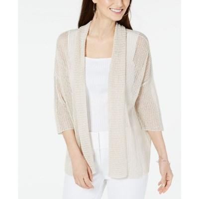 アルファニ Alfani レディース カーディガン トップス Open-Stitch Kimono Cardigan Polished Beige