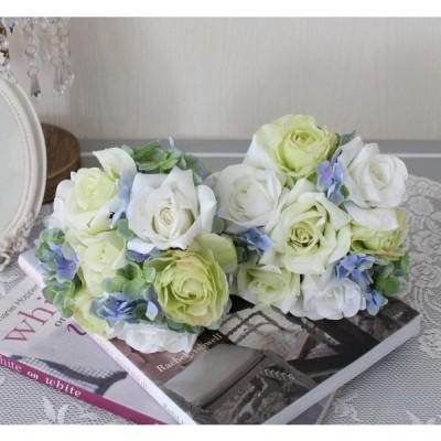 可愛い造花 クリームローズ ハイドブーケ シルクフラワー アーティフィシャルフラワー 薔薇 花束 造花 ナチュラル かわいい アンティーク シャビーシック インテ
