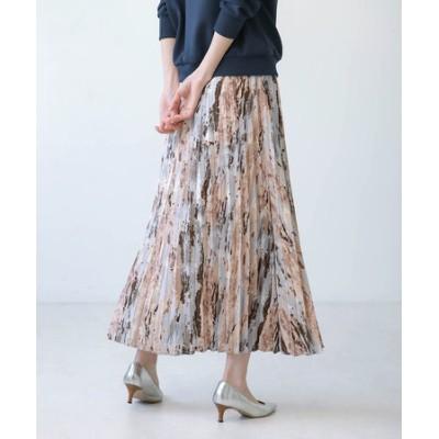 かすれ柄プリーツスカート
