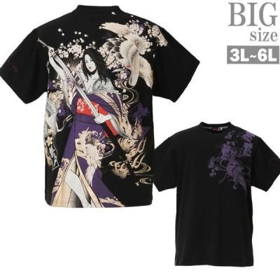 抜刀娘 結愛 Tシャツ 大きいサイズ メンズ ガールプリント 和柄 日本 絡繰魂 プリントTシャツ C030524-06