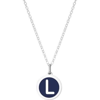 """オーバーンジュエリー Auburn Jewelry ユニセックス ネックレス Mini Initial Pendant Necklace in Sterling Silver and Navy Enamel, 16"""" + 2"""" Extender"""