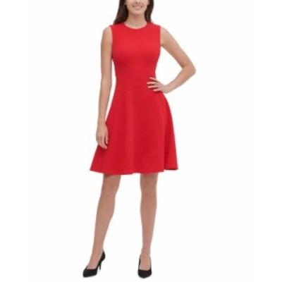トミー ヒルフィガー レディース ワンピース トップス Sleeveless Fit & Flare Dress Scarlet