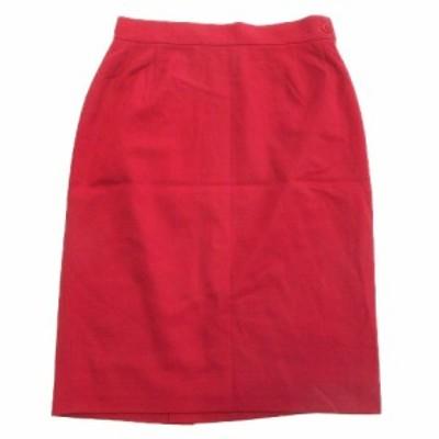 【中古】美品 ジェニー GENNY ウール タイト スカート ひざ丈 バック スリット 無地 イタリア製 40 赤 レッド▼2