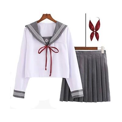 セーラー服 制服 コスプレ 上下 2点セット 長袖 プリーツスカート レディース (白グレー, S)