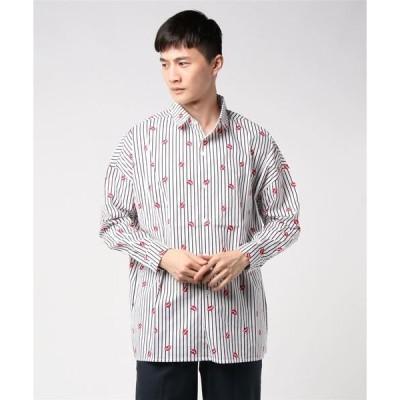 シャツ ブラウス 【K・U・I】ストライプリップビッグシルエットシャツ